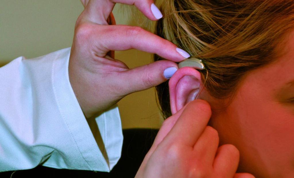 Hearing aid on ear